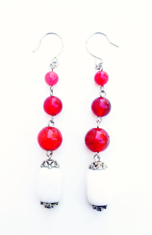 Image of Strawberry Jade Station Earrings