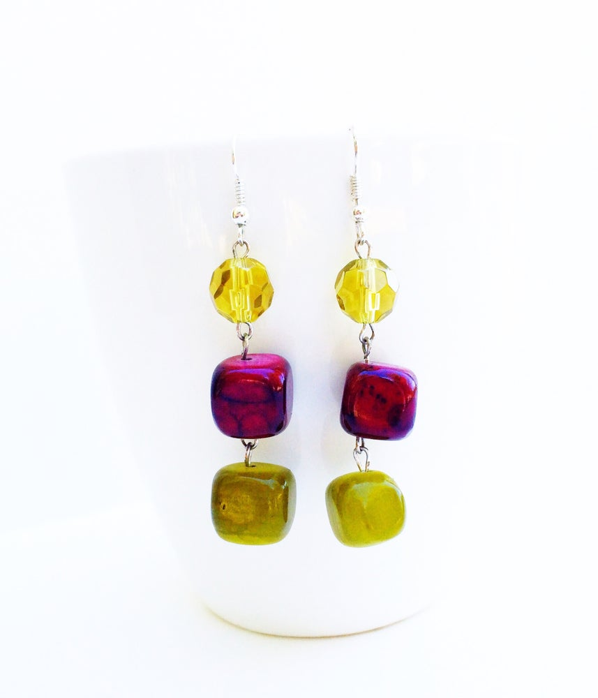 Image of Apple Colored Stone Earrings