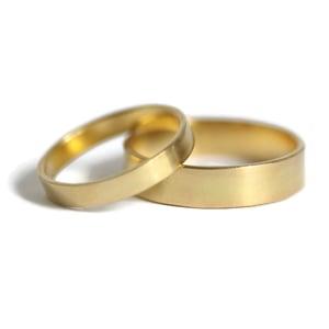 Image of Narrow 18ct yellow gold flat matt wedding band