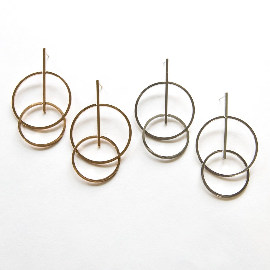 Image of The Double Hoop Drop Earring