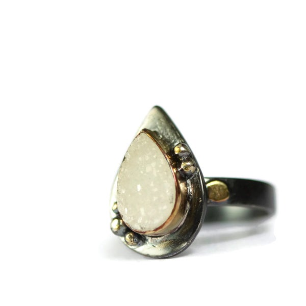 Image of Oxidised silver and 9ct gold druzy ring