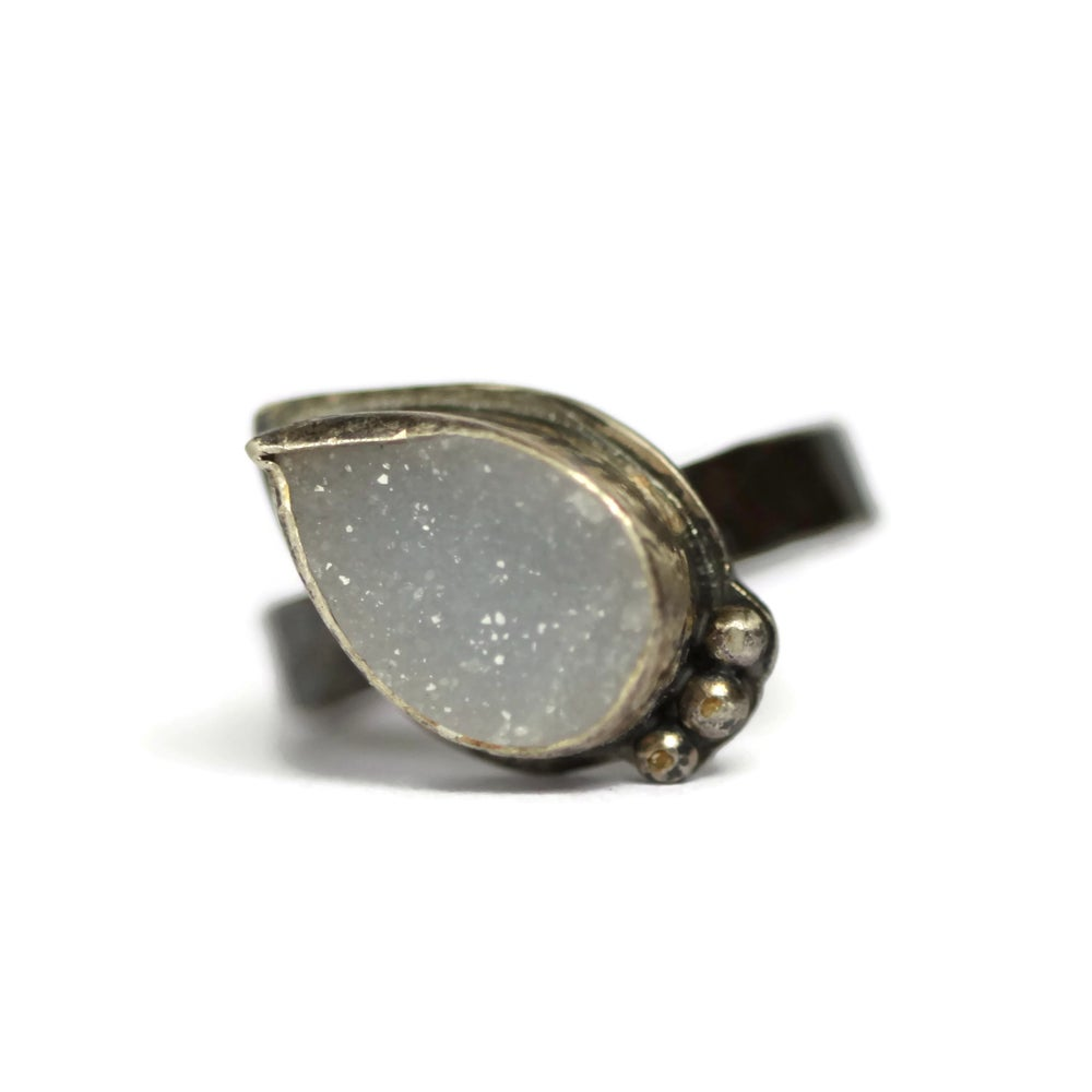 Image of Oxidised silver grey druzy ring