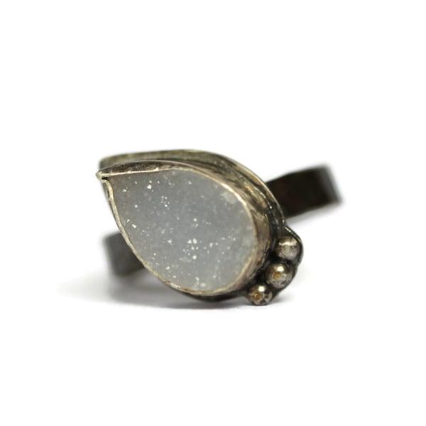 Image of Oxidised silver grey druzy ring