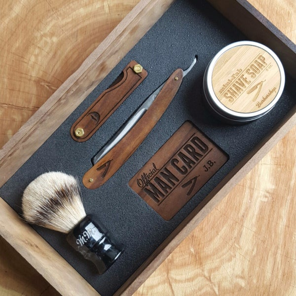 Image of Handmade Cigar Box Straight Razor Shave Kit - Walnut