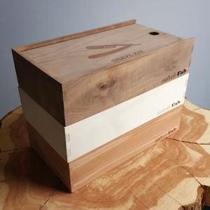 Image of Handmade Cigar Box Straight Razor Shave Kit - Walnut