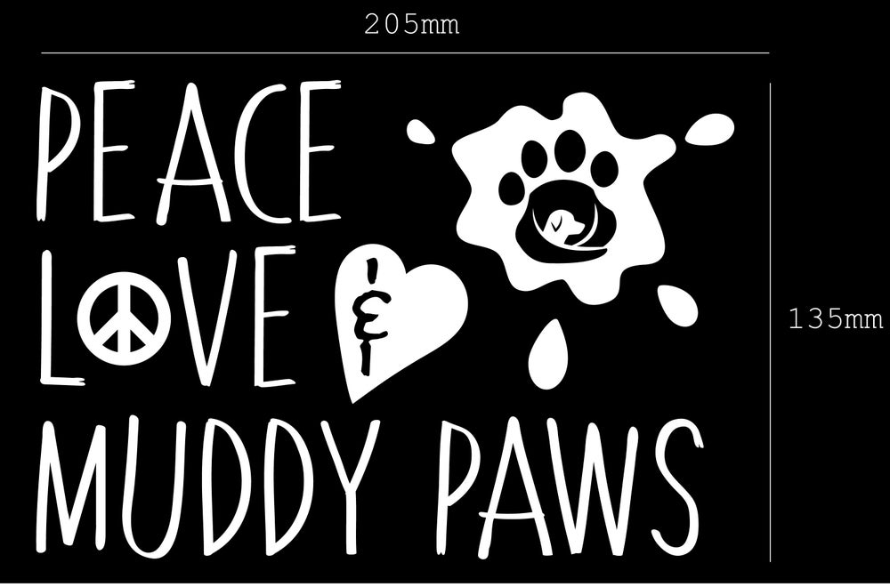 Image of Peace Love & Muddy Paw Prints Sticker/Decal - Supporting GAAR SA Inc.