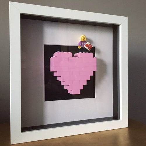 Image of Framed Pink Lego® Heart & Mini Figure