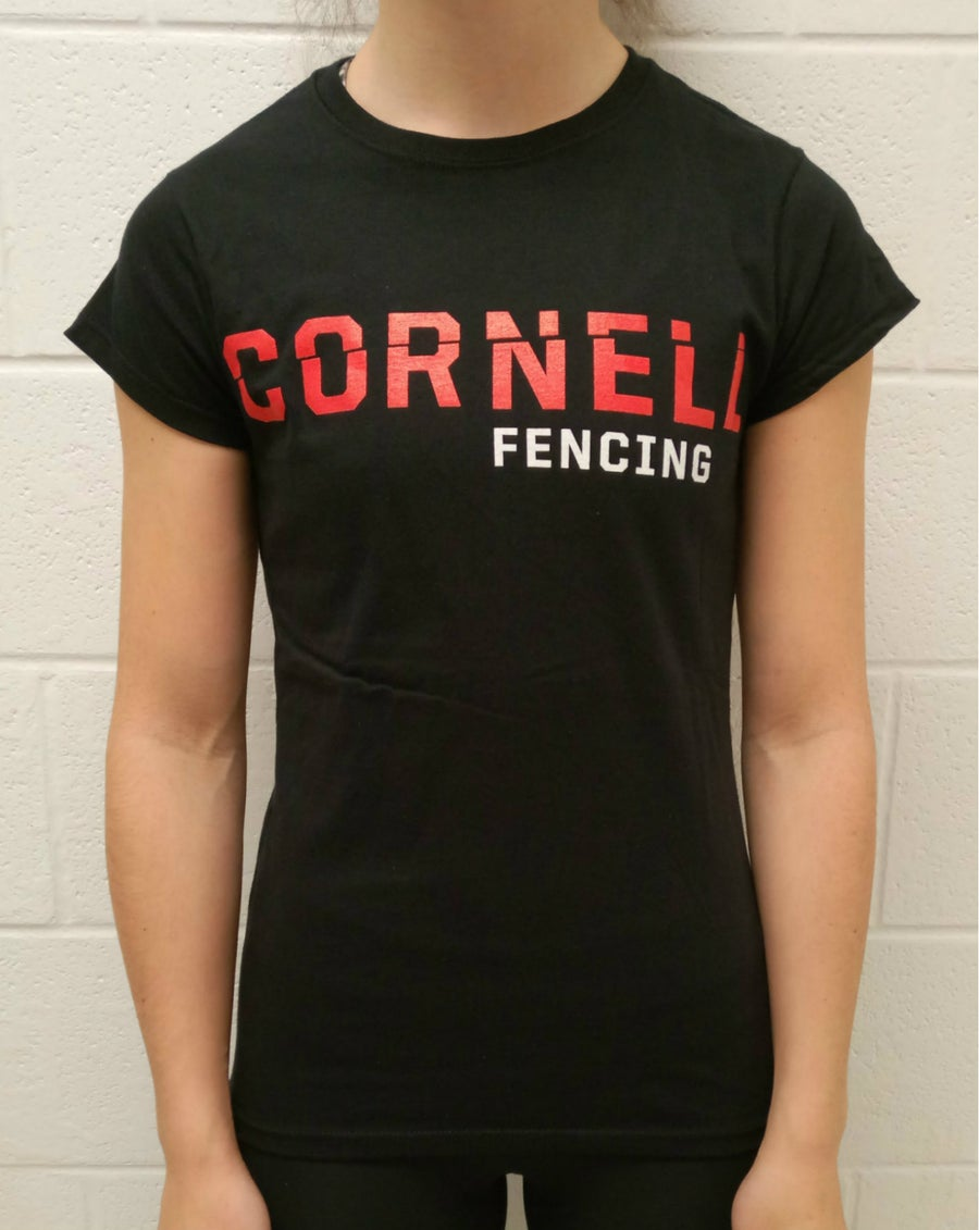 Image of Cornell Fencing (Red) T-Shirt w/ Weapon on Back