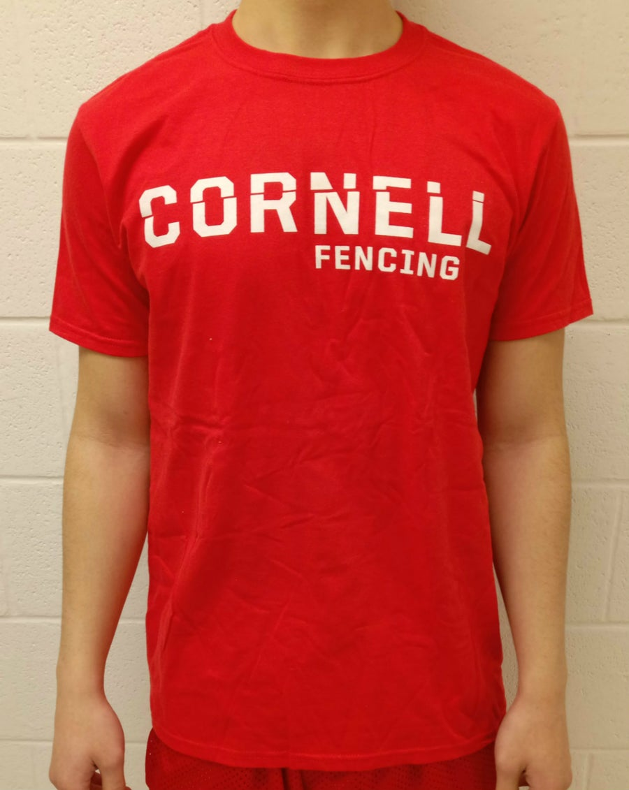 Image of Cornell Fencing T-Shirt w/ Weapon on Back (Red)