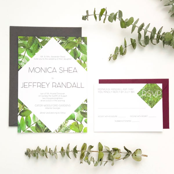 Image of Monica - Diamond Greenery wedding invitation suite