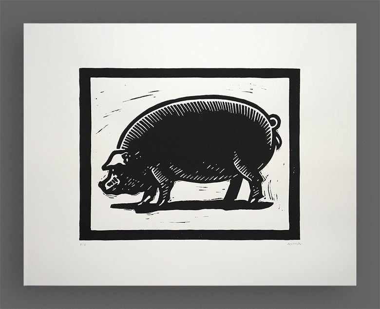 Image of The Pig Linocut Print