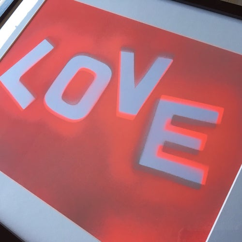 Image of Framed 'Love' in Neon Red & Mint