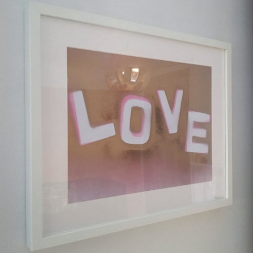 Image of Framed 'Love' in Pink & Gold