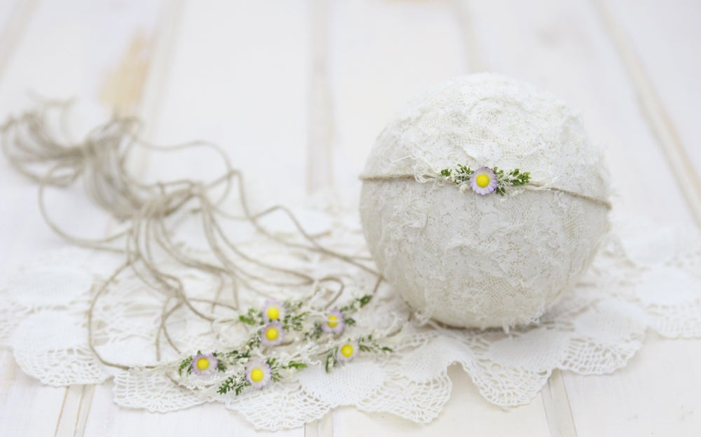 Image of Petite Vintage Paper Flower on Twine Tieback - C