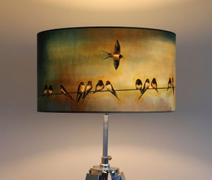 Image of 'Swallows' Drum Lampshade by Lily Greenwood (45cm, Floor Lamp or Ceiling)