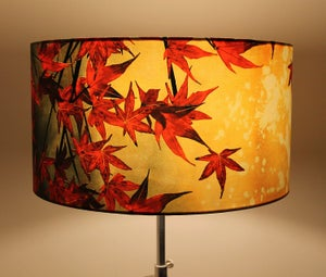 Image of 'Japanese Maple' Drum Lampshade by Lily Greenwood (45cm, Floor Lamp or Ceiling)