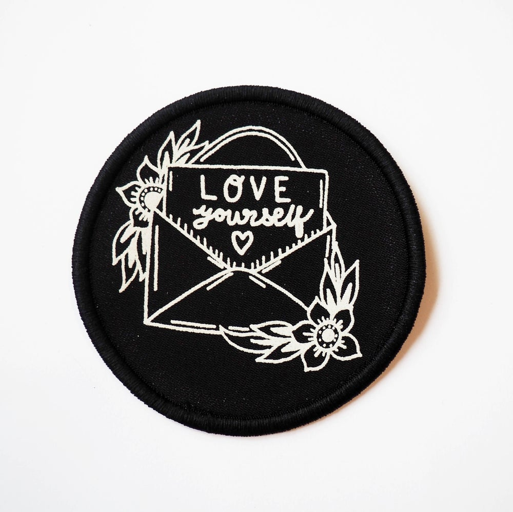 Image of Love yourself screen printed patch
