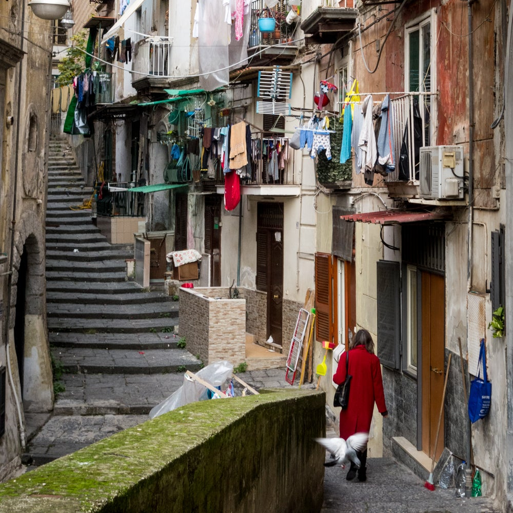 Woman in Red, Naples, Italy