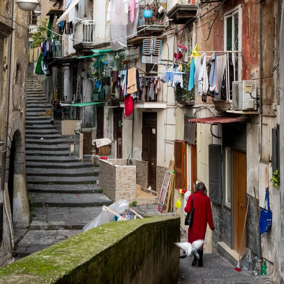 Image of Woman in Red, Naples, Italy