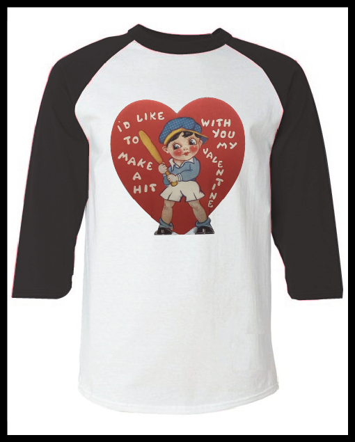 """Image of Vintage Valentine's Day Card """"Make A Hit With You"""" Graphic Pink Raglan T-Shirt Youth & Adult"""