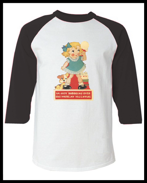"""Image of Vintage Valentine's Day Card """"Bubbling Over"""" Graphic Pink Raglan T-Shirt Youth & Adult"""