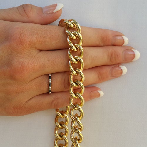 "Image of GOLD Chain Luxury Strap - Large Classy Curb Chain - 7/16"" (12mm) Wide - Choose Length & Hooks/Clasps"