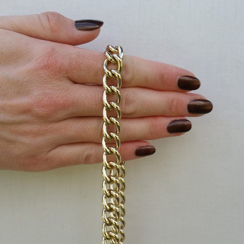 "Image of LIGHT GOLD Chain Luxury Strap - Large Classy Curb - 7/16"" (12mm) Wide - Choose Length & Hooks/Clasps"