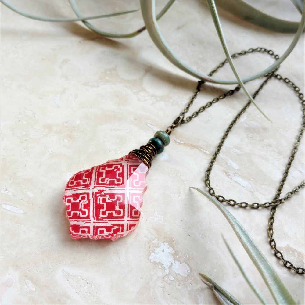 Image of Geometric Bohemian Tibetan Block Print & Serpentine Long Necklace