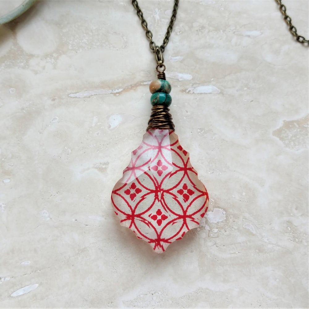 Image of Seed of Life Bohemian Tibetan Block Print & Serpentine Pendant Necklace