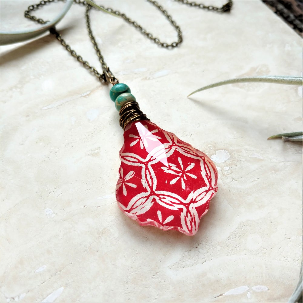 Image of Flower of Life Tibetan Block Print & Serpentine Bohemian Necklace