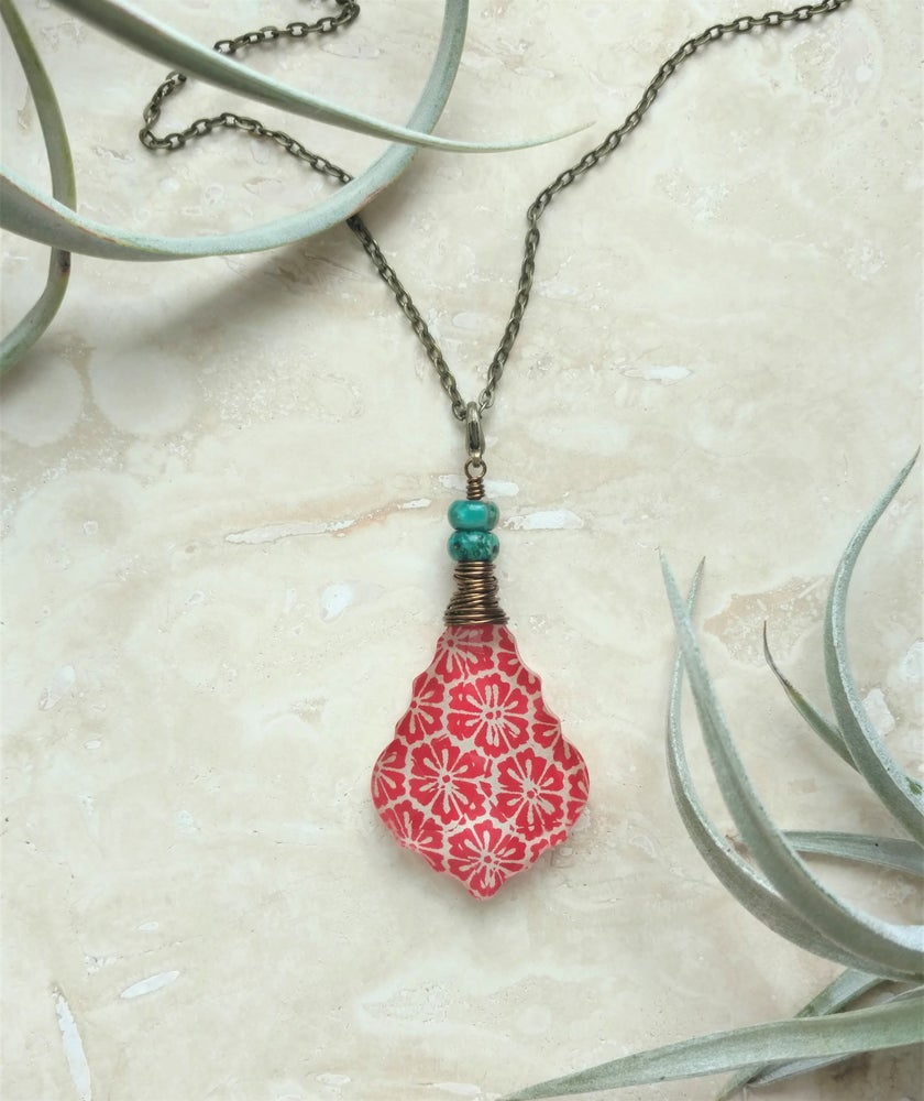 Image of Salvaged Chandelier Crystal & Serpentine Bohemian Pendant Necklace