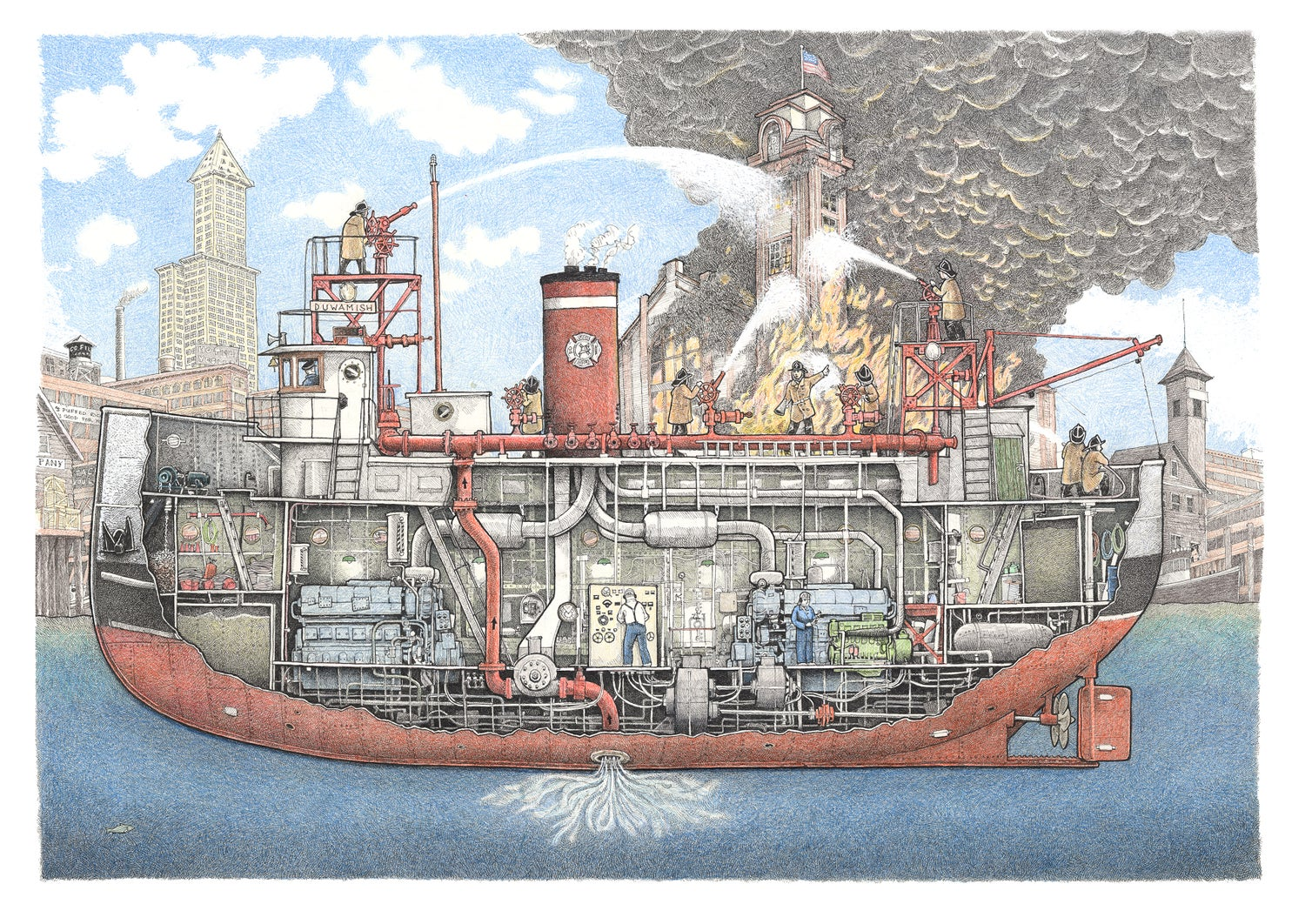 Image of Fire Boat Duwamish 22 X 17