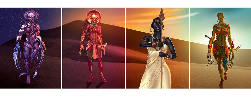 Image of Daughters of Sekhmet & Sister of the Spear Polyptych (Four Piece Print Set)