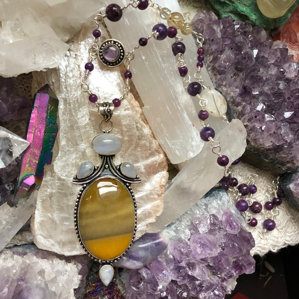 "Image of ""Embodiment of Divine, Cosmic Light"" Talisman Necklace // Moonstone, Lepidolite, Mookaite, Amethyst"