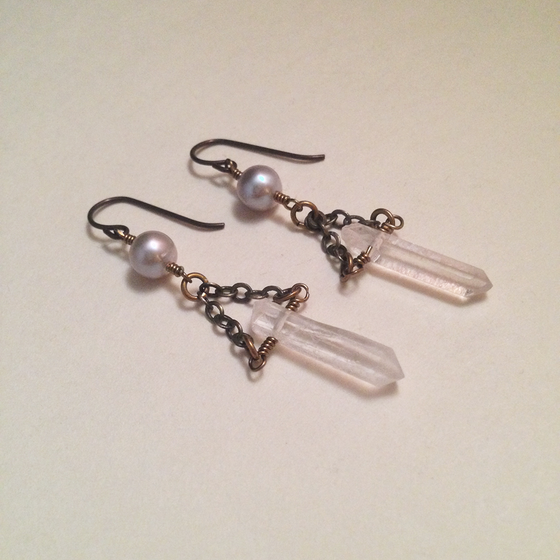 Image of Four of Wands Crystal Quartz Point Gray Freshwater Pearl Gemstone Niobium Earrings | Handmade