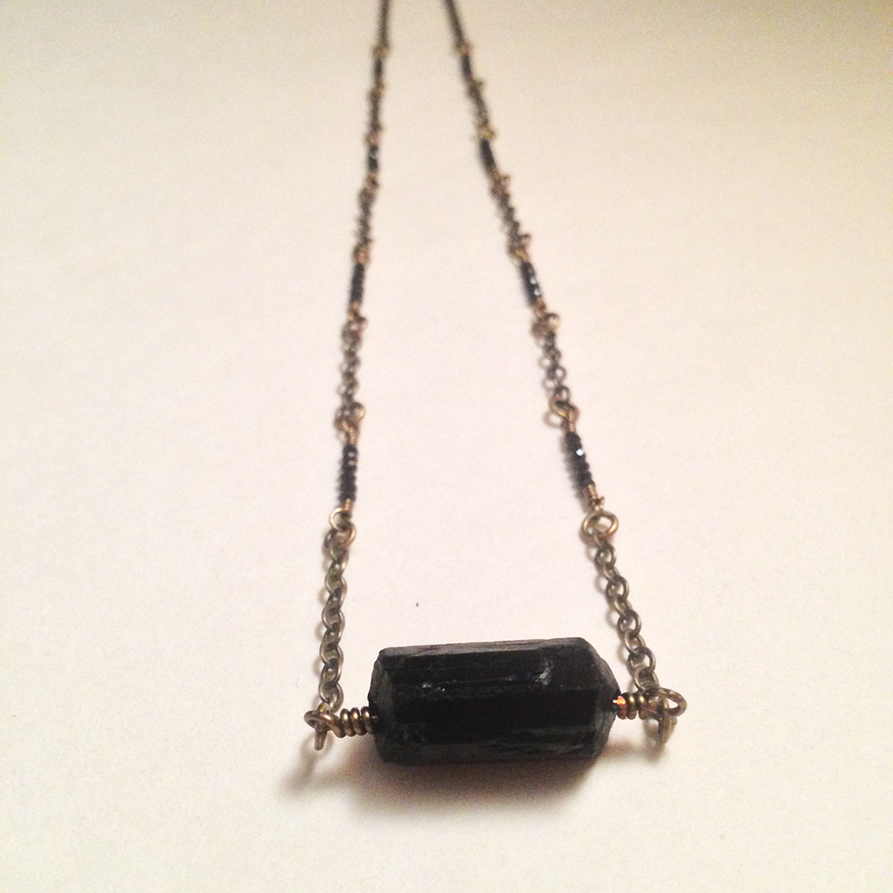 Image of Eight of Batons Black Tourmaline Black Garnet Natural Gemstone Amulet Necklace | Handmade Witch
