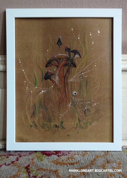 Image of dark brown mushroom 11x14 inch print