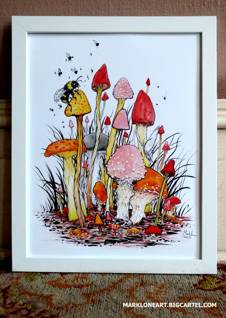 Image of mushrooms 11x14 in print