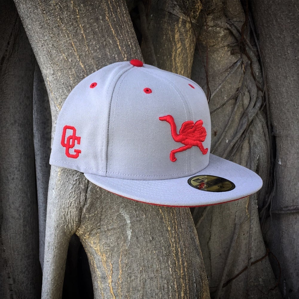 Image of OG Mascot Fitted (platinum w/ red logos)