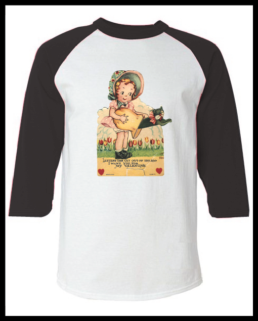 """Image of Vintage Valentine's Day Card """"Let The Cat Out Of The Bag"""" Graphic Pink Raglan T-Shirt Youth & Adult"""