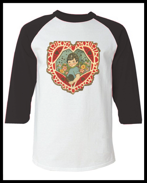 """Image of Vintage Valentine's Day Card """"Little Boy Heart"""" Graphic Pink Raglan T-Shirt Youth & Adult"""