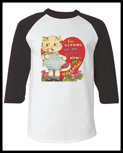"""Image of Vintage Valentine's Day Card """"I'm Getting In My Licks"""" Graphic Pink Raglan T-Shirt Youth & Adult"""