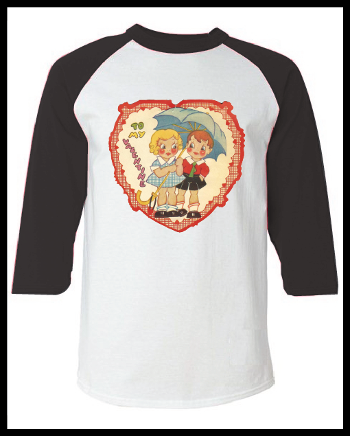 """Image of Vintage Valentine's Day Card """"To My Valentine"""" Graphic Black Raglan T-Shirt Youth & Adult"""