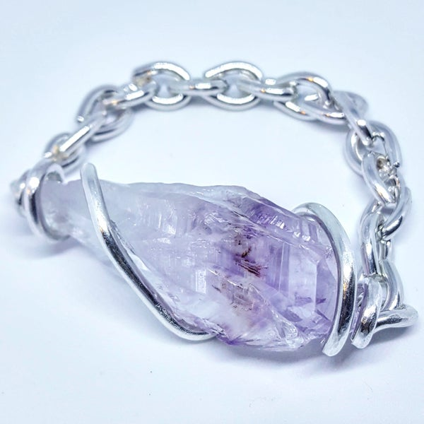 Image of Pure Silver Set Uruguay Amethyst Bracelet