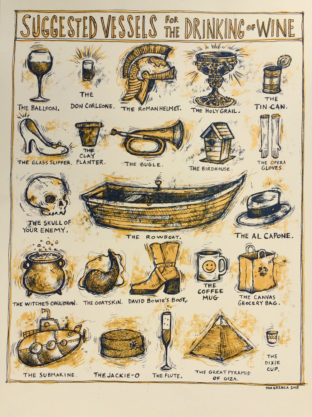 Suggested vessels for the drinking of wine
