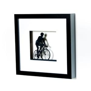 Image of Framed Papercut Road Bike Scene