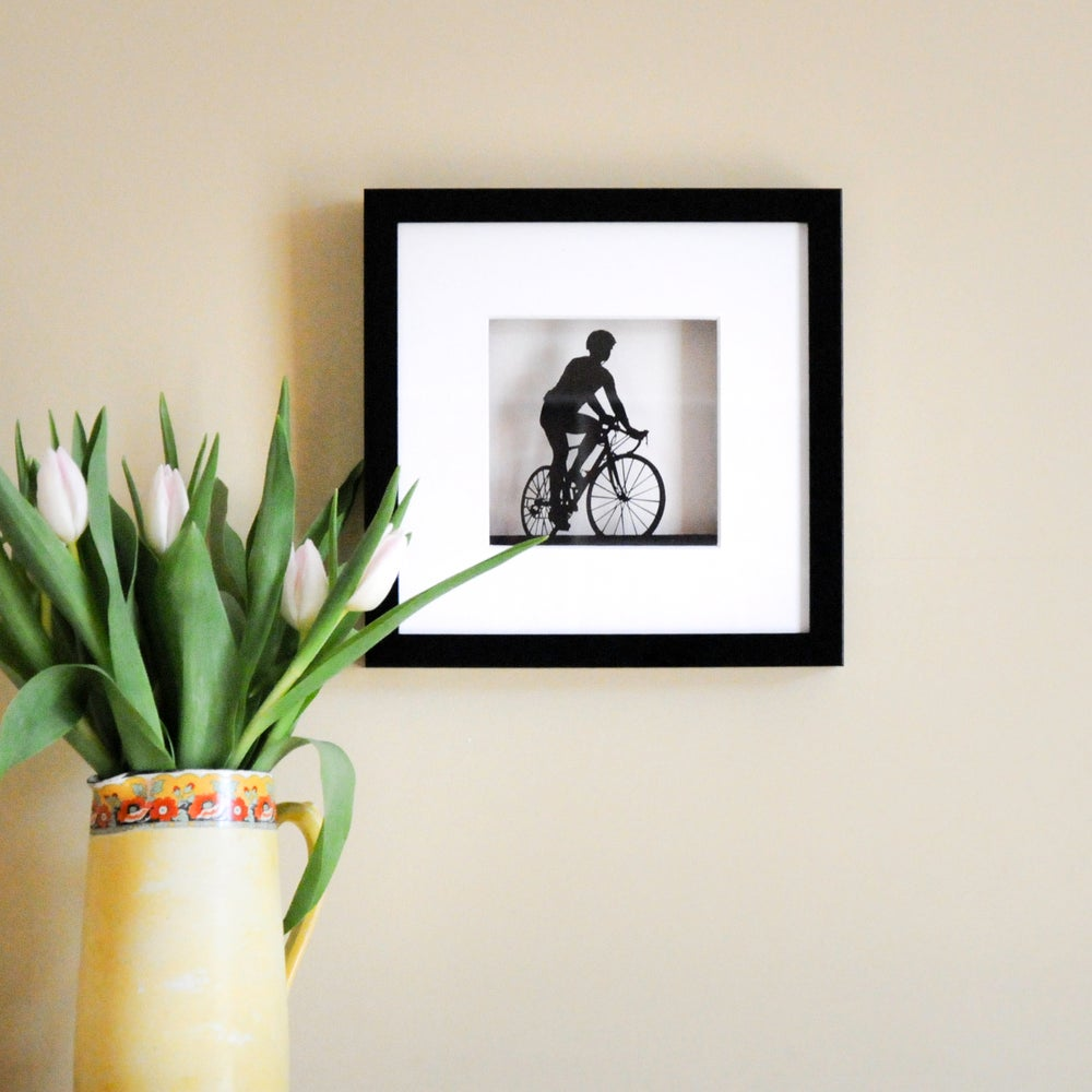 Image of Framed Papercut Road Bike Scene