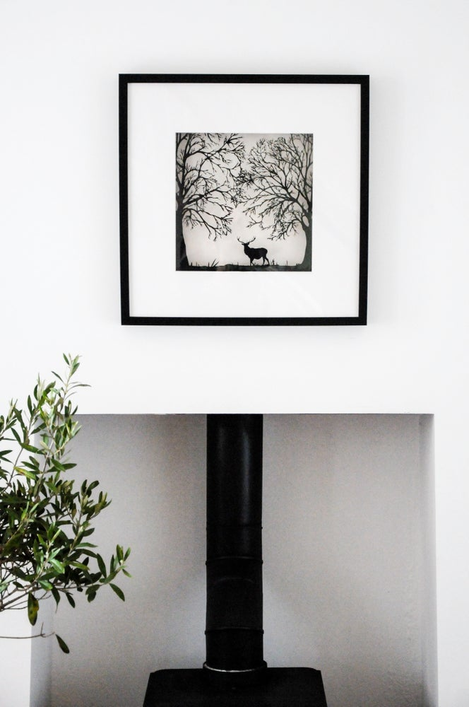 Image of Framed Stag In The Forest- Large