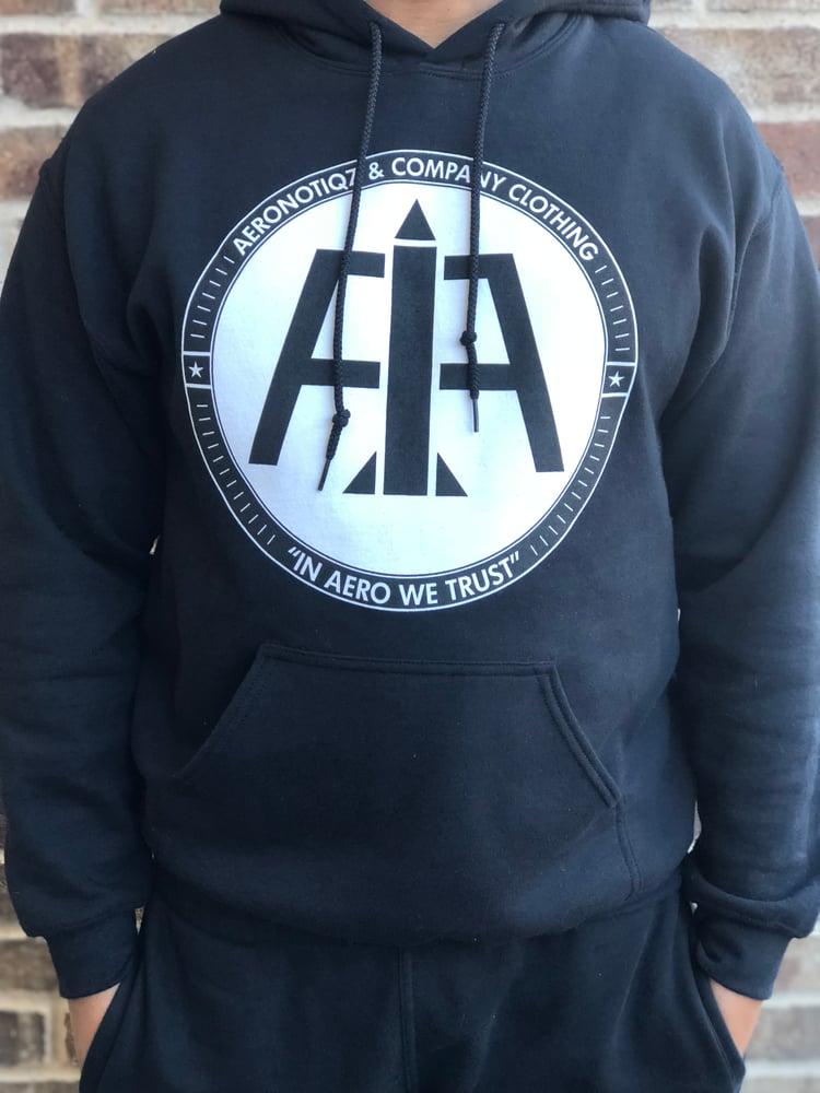 Image of Black Aeronotiqz Logo Hoodie