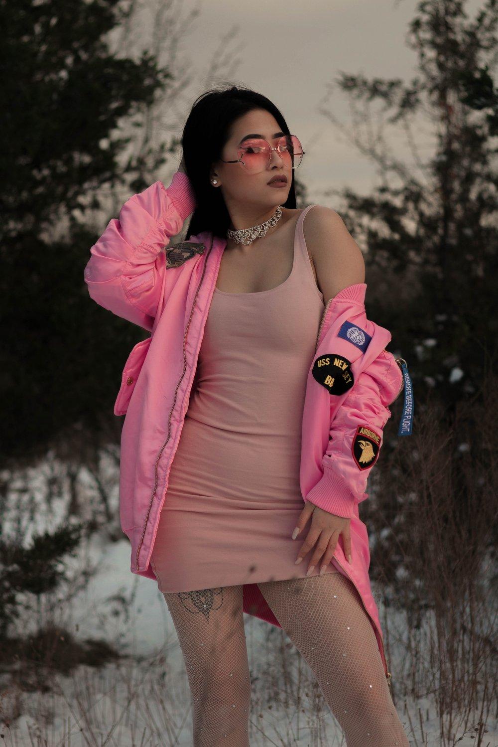 Image of United Nations  Longline Bomber Jacket Pink - Women
